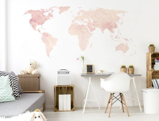 Wall decal World map in pink shades