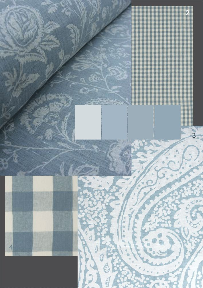 The Paper Mulberry: Romantic French Fabrics - Powder Blue: FABRICS: 1.Tinsmiths Linen Union French Toile linen/cotton blend colour: Silver 2.Clarke and Clarke 'Cove Check'100% linen -colour shown:Denim 3.Robert Alan 'Crystal Springs' 100% cotton colour: Aqua 4.Clarke and Clarke 'Clifford Check'100% linen -colour shown:Denim