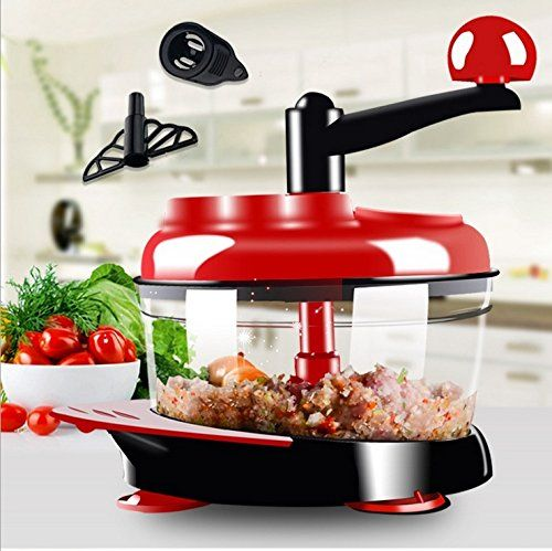 Cheap Manual Food Processor Hand-Powered Miracle Chopper Baby Multi Vegetable Chopper Meat Grinder Fast Salsa Maker Food Mixer Blender to Chop Meat Fruits Vegetables Nuts Herbs Onions Garlics (Red) on sale