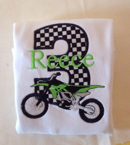 Personalized Dirt Bike Birthday Number Shirt or Bodysuit | grammeshouse - Clothing on ArtFire