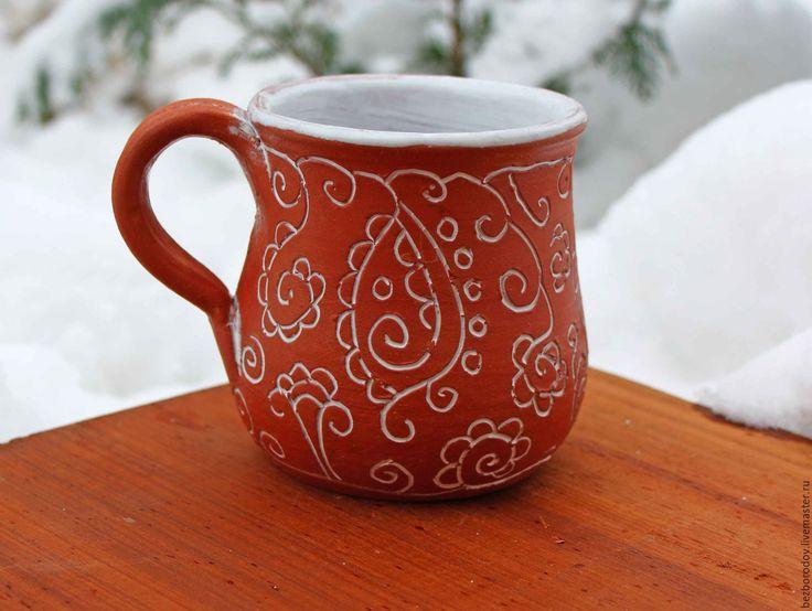 """Купить кружка """" идти домой по снежному полю"""" - посуда ручной работы, керамика недорого"""