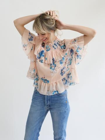 """Watercolor floral printed silk top, high elastic neck with smocking, tiered ruffles. Sizing- 21"""" from shoulder to hem Fabric- 100% Silk georgette Made in India"""