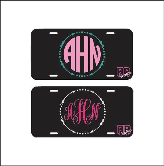 Monogram license plate front car license plate arrow