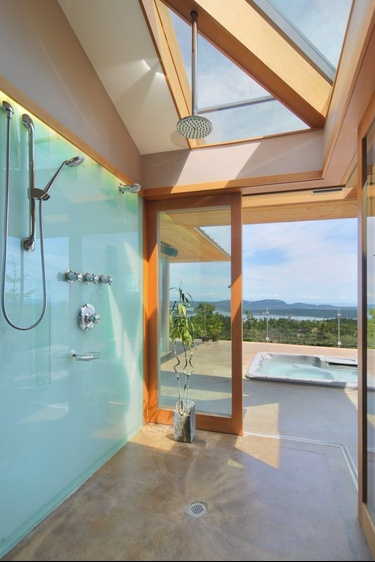 glass back painted shower wall