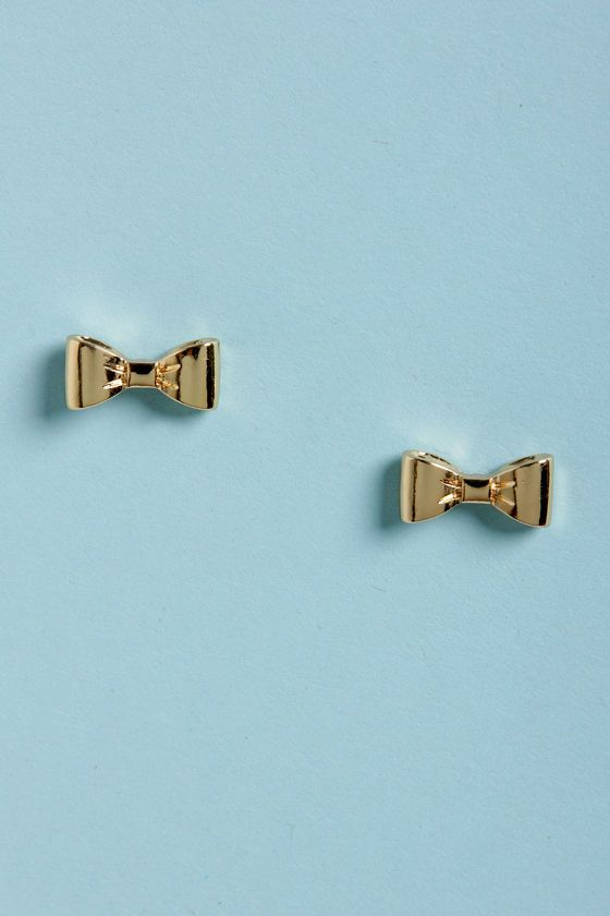 Darling Bow Earrings - Gold Earrings - Stud Earrings - $11.00