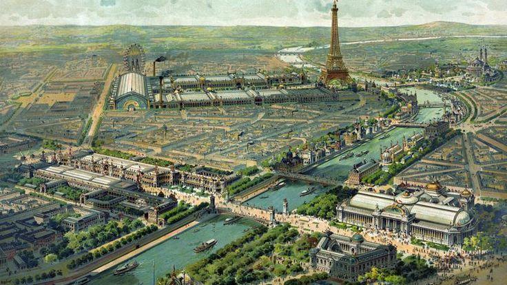 Vue panoramique de l'Exposition universelle de Paris en 1900. L'Exposition s'étend sur 216 hectares.