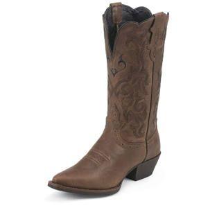 """JB-L2559 Justin Stampede 12"""" Brown Mustang Cowhide Ladies Western Boots J3 Toe"""