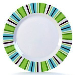 """Danesco Melamine Plate - 10"""" - Summer Fresh by Danesco. $11.89. This food-safe melamine dinner plate is perfect for use at outdoor barbeques or picnics. The vi.... Colour/Pattern: White with blue, green, and purple stripe design. Dimensions: 10""""Dia. Sold individually. Size: 10"""". This food-safe melamine dinner plate is perfect for use at outdoor barbeques or picnics. The vibrant bands of colour will lend contemporary style to your outdoor event.Not intended for use in micro..."""