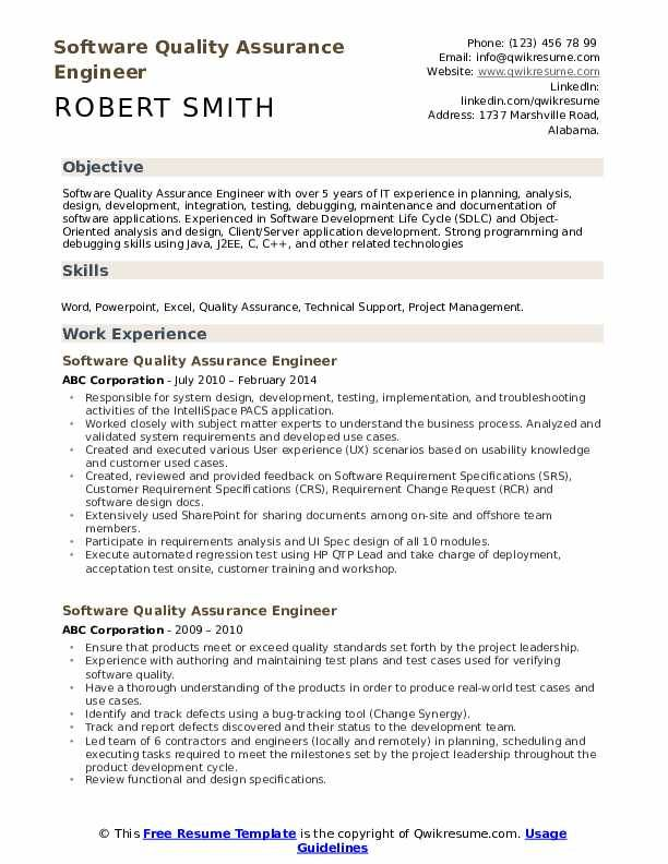 Software Quality Assurance Engineer Resume Samples Engineering Resume Resume Software Resume
