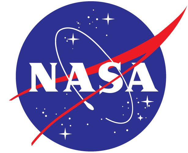 NASA's logo fits the company to a T. The color being that of the American flag. Then they have negative space in the picture to represent stars and space and again the red around to represent space. Very clever