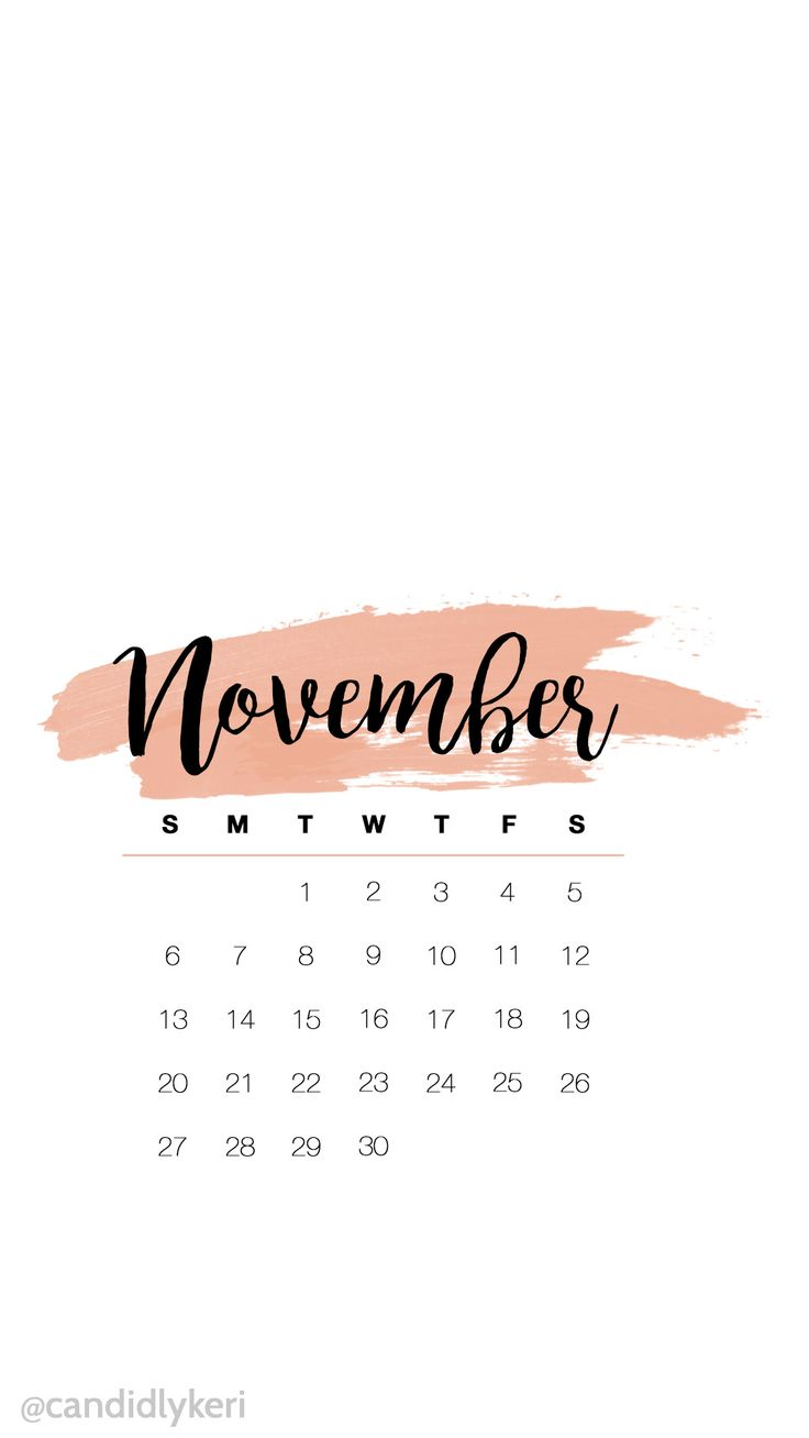 Cute pink watercolor November calendar 2016 wallpaper you can download for free on the blog! For any device; mobile, desktop, iphone, android!