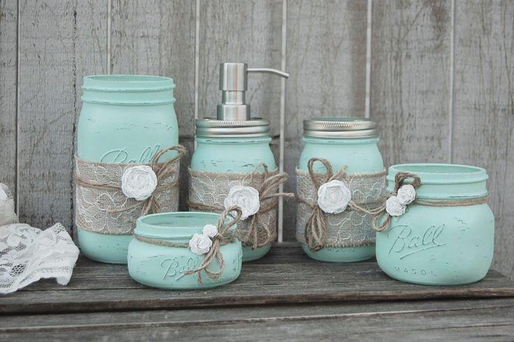 Mason Jar Bathroom Set, Mint Green, Shabby Chic, Soap Dispenser, Bathroom Jars, 5 Piece, Burlap, Rustic, Distressed, Beach Decor, Metal Pump by TheVintageArtistry on Etsy https://www.etsy.com/listing/242724703/mason-jar-bathroom-set-mint-green-shabby