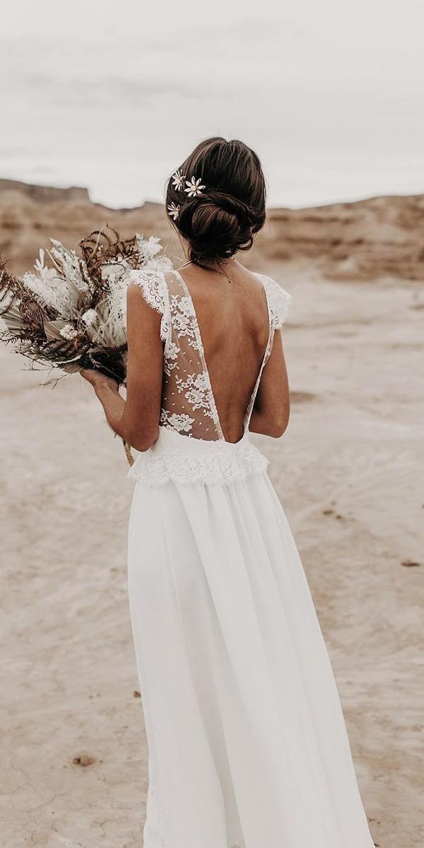 Robe de mariée ouverte dans le dos avec bretelles en dentelle transparente et l…