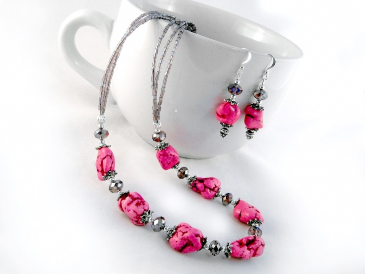 Cyclamen sunrise set $33.00 Ladies beaded necklace, and earrings set. Howlite, Swarovski crystal, Czech glass seed beads, and Tibet silver on tiger's tail wire, and silver plated wire.