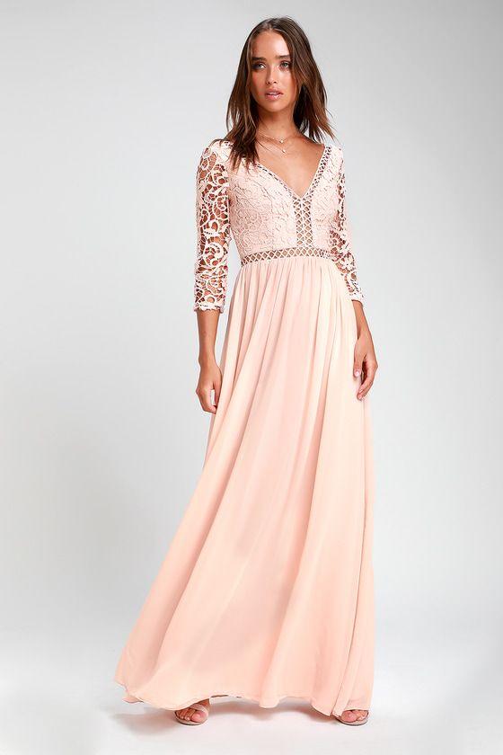 1ac3a289325 Stunning Chiffon Maxi Dress - Blush Maxi Dress - Lace Dress