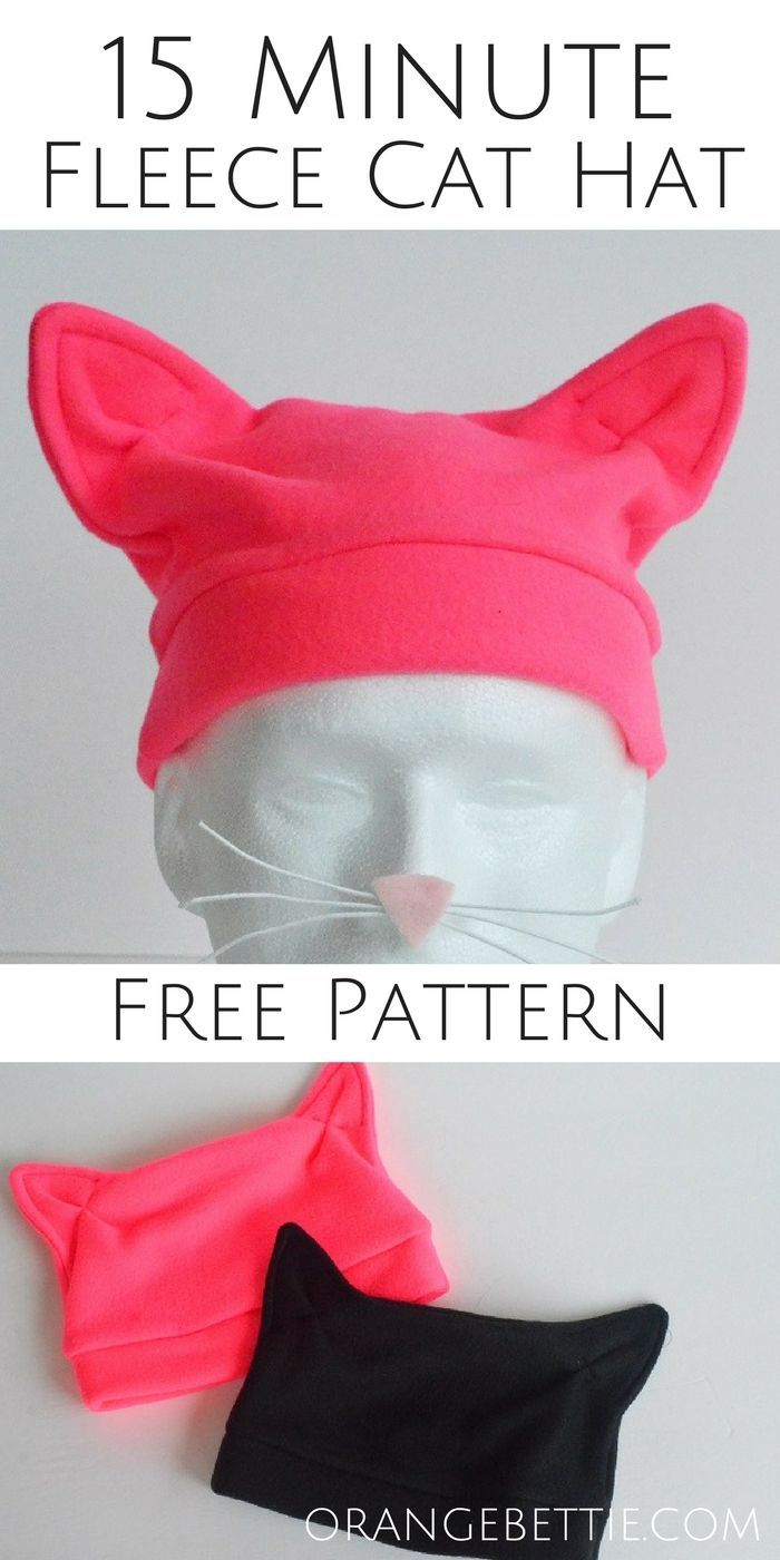 15 Minute Fleece Cat Hat – FREE PATTERN by Orange Bettie. Adorable and easy to make!