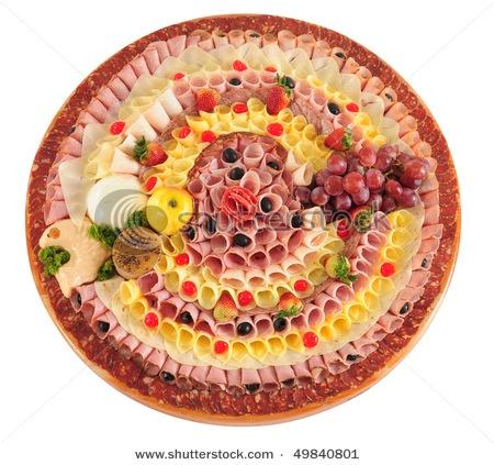 Fleisch, Käse und Obstteller