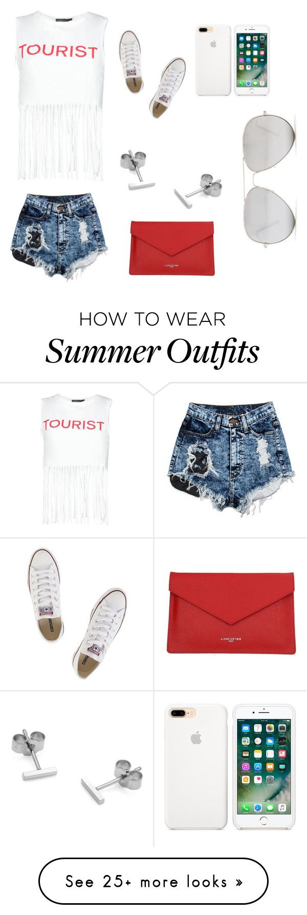 """Summer style"" by nubianprincess1999 on Polyvore featuring Boohoo, Converse, Myia Bonner, Lancaster and Sunny Rebel"
