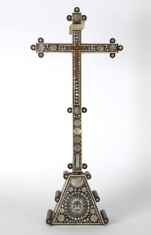 Antique Indo-Portuguese Mother-of-Pearl Inlaid Cross