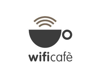 coffee and cafe logo: wifi cafe