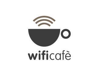 coffee and cafe logo: wifi cafe