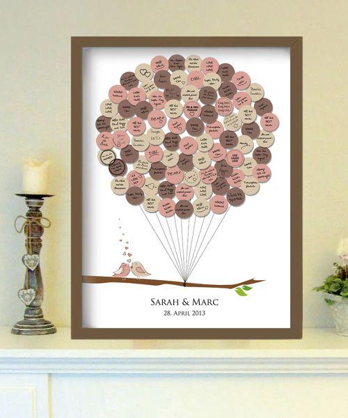 Hochzeitsgästebuch - Vögel - up in the air - Gästeplakat - ein Designerstück von foryoudesign bei DaWanda