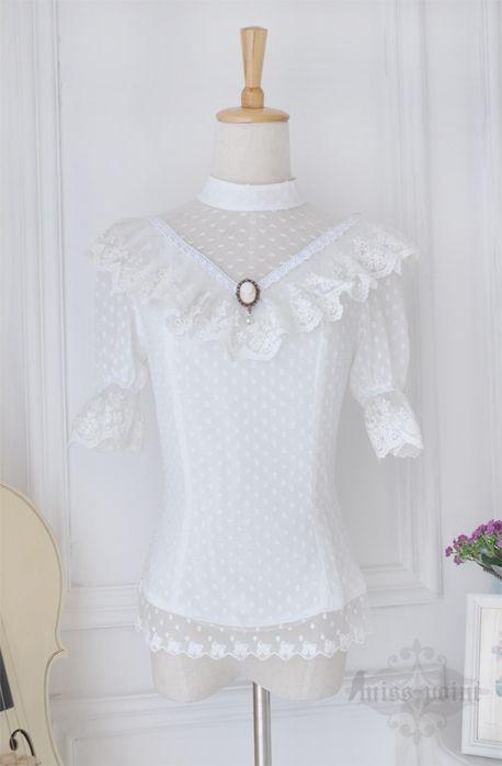 Vintage court White Lace Lolita Blouses