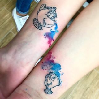 """These gorgeous tats of Mrs. Potts and Chip:   Community Post: 21 Of The Coolest """"Beauty And The Beast"""" Tattoos"""