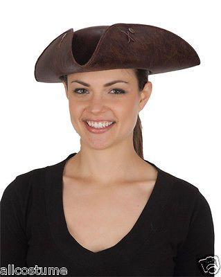 Adult Brown Pirate Tricorne Hat Tri-Corner Tricorn Faux Leather Colonial Costume