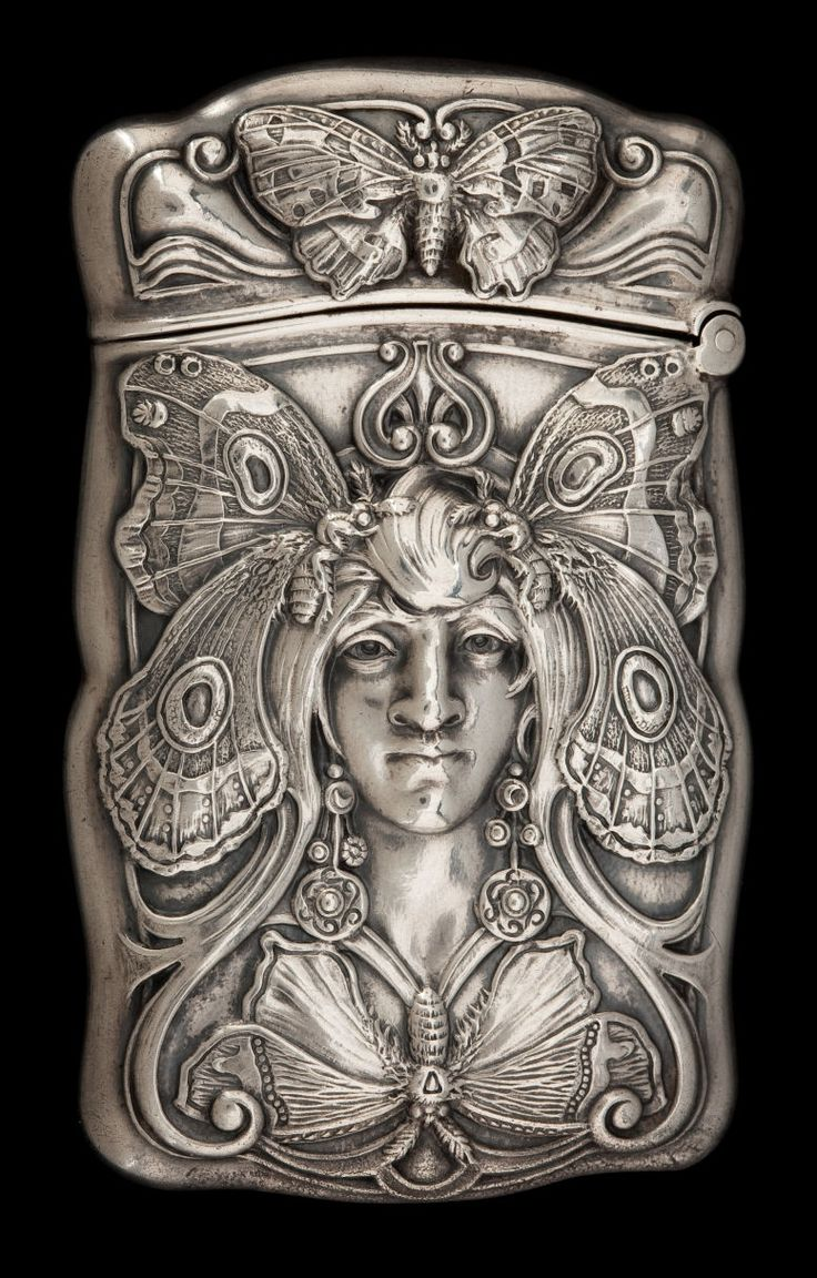 A GORHAM BUTTERFLY WOMAN SILVER MATCH SAFE . Gorham Manufacturing Co., Providence, Rhode Island, 1909.