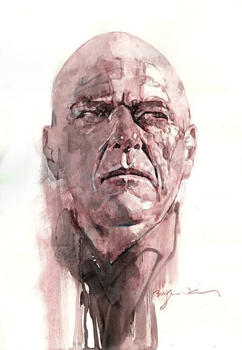heisenbergchronicles:  heisenbergchronicles:  Hank bycomic book artist Bill Sienkiewicz in Los Angeles CA  Links: Web site / Twitter / Facebook  In tribute to the premiere of Legion on FX this week heres one of my favorite illustrations of Hank. Its by Bill Sienkiewicz who co-created Legion for Marvel with writer Chris Claremont in March 1985. Bill sketched most of the primary BrBa cast back in 2013.