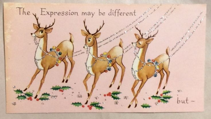 PINK Three Reindeer Expression Glitter 1950's Vintage Christmas Greeting Card   Collectibles, Paper, Vintage Greeting Cards   eBay!