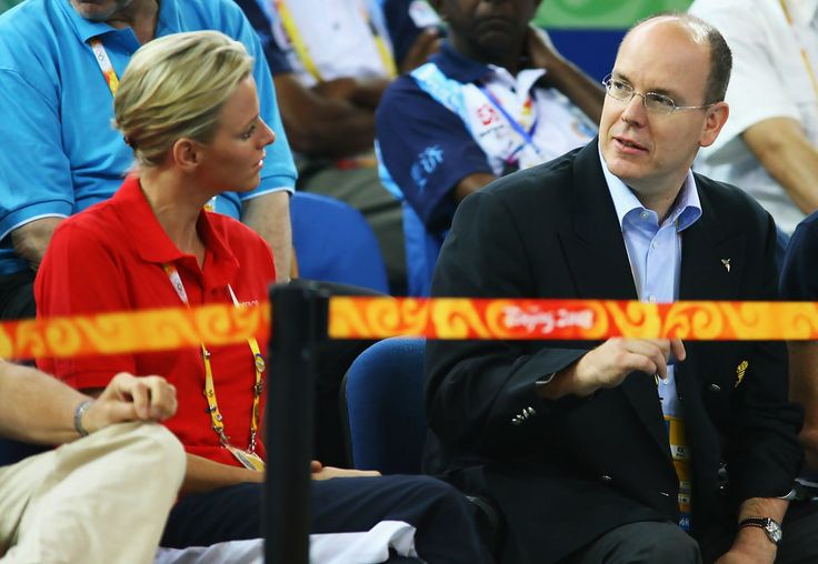 Prince Albert II of Monaco is pictured with Charlene Wittstock ahead of the weightlifting event at the University of Aeronautics and Astronautics Gymnasium during Day 5 of the Beijing 2008 Olympic Games on August 13, 2008 in Beijing, China.