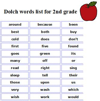 2nd Grade Sight Words Printable Sight words, Free