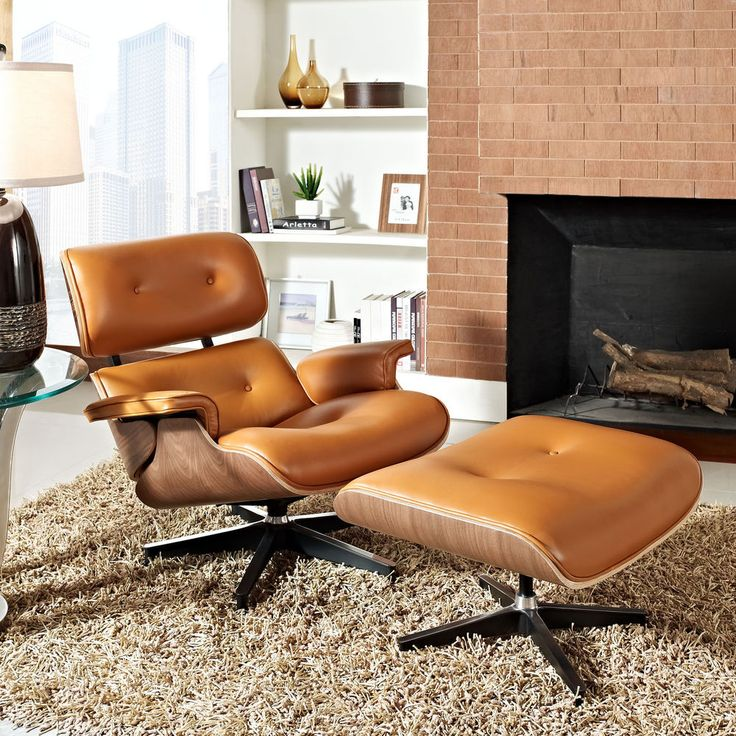 Eames Style Lounge Chair & Ottoman Terracotta Dark Walnut Reproduction Leather #Contemporary - $895