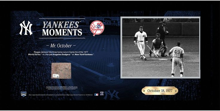 Reggie Jackson Hits Three Home Runs in Game Six of the World Series 10x20 Collage w/ Old Yankee Stadium Brick