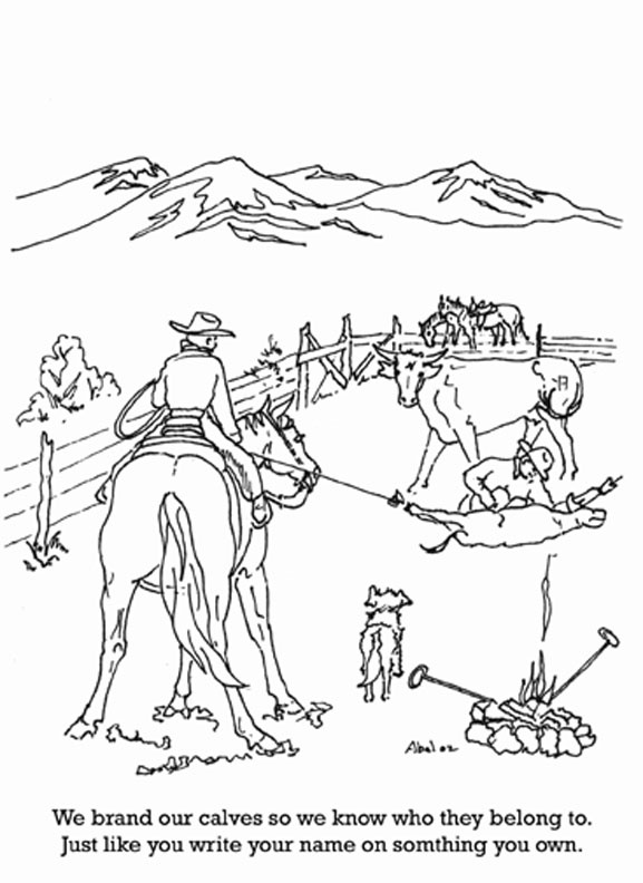 Color A Picture Of A Cattle Branding Coloring Pages
