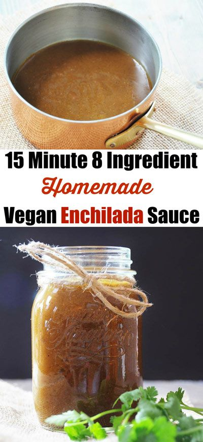 15 Minute 8 Ingredient Homemade Vegan Enchilada Sauce! This enchilada sauce recipe is so easy, healthy, and delicious. Not to mention, fast!  It makes the best enchiladas. www.veganosity.com