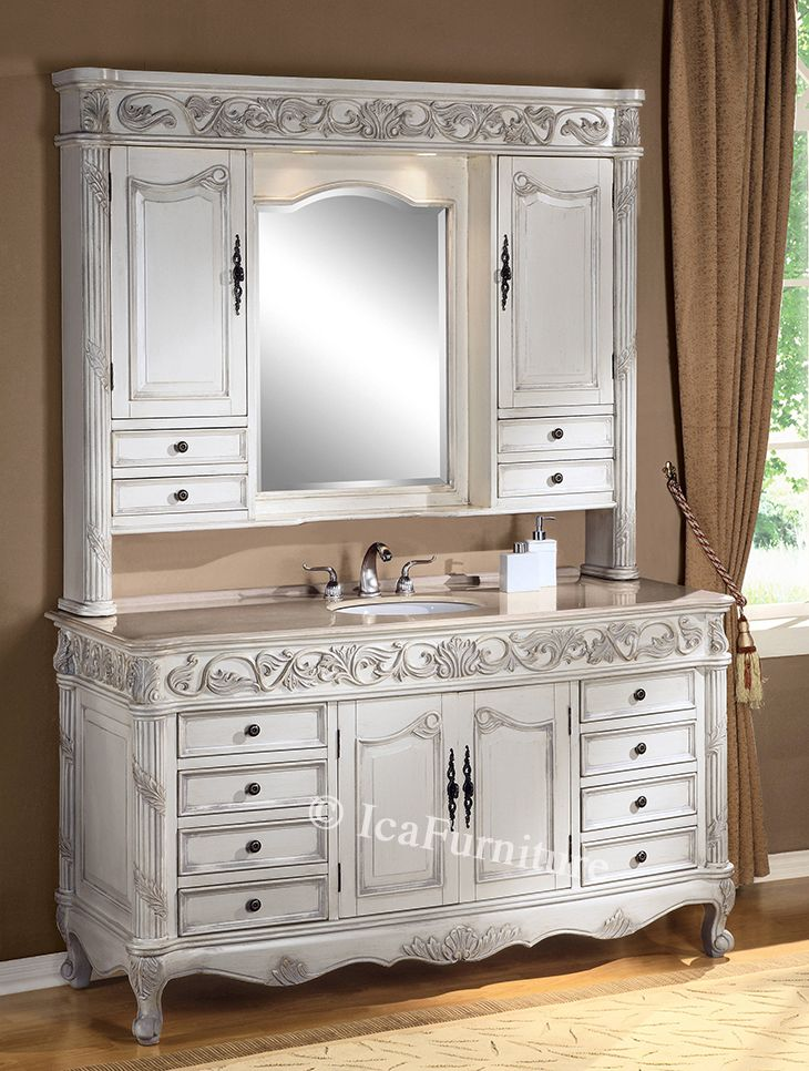 Single vanity with cream rose marble top and hutch 7664 - Bathroom cabinets sinks and vanities ...