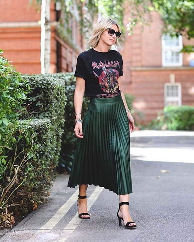 Shiny ankle skimming pleats and a distress band tee, master city girl chic dressing via @astylealbum | Shop her look with www.LIKEtoKNOW.it | http://liketk.it/2pexD #liketkit