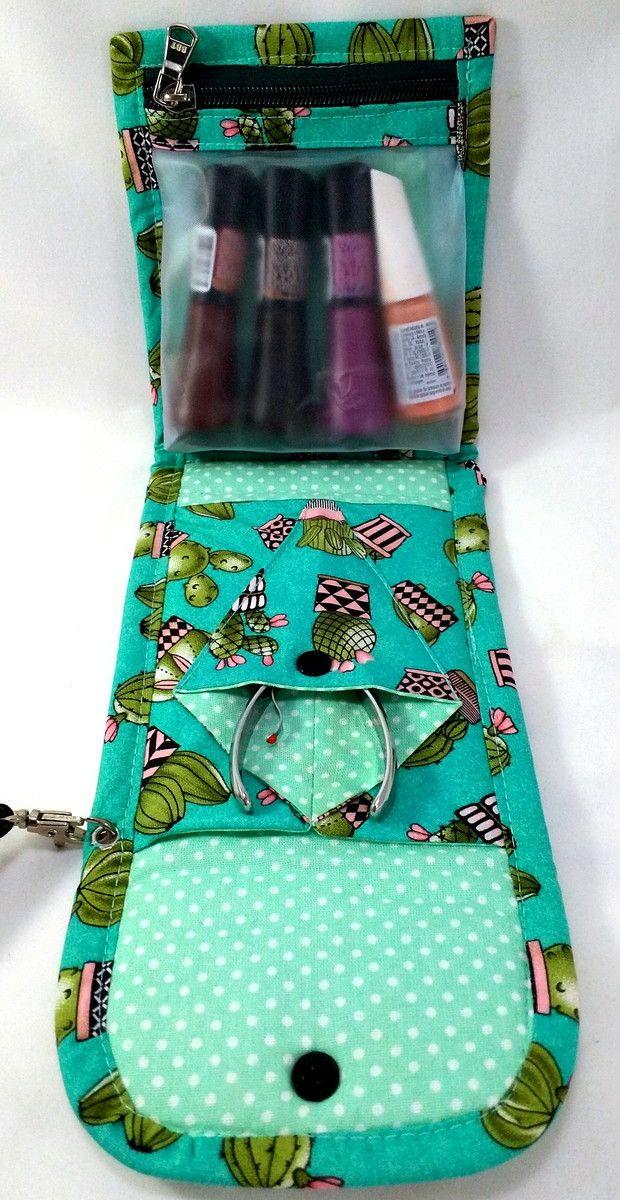 1e545a0fa Bolsa p/ kit manicure. Em tecido, Estampa Rosa e Preto no Elo7 | MaMaGu  Bolsas e Acessórios (C236C0)