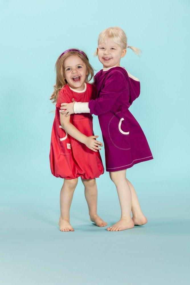Puffi Dress Trikoo- Chorall/NWhite Tunika Hoodie- Cranberry/NWhite