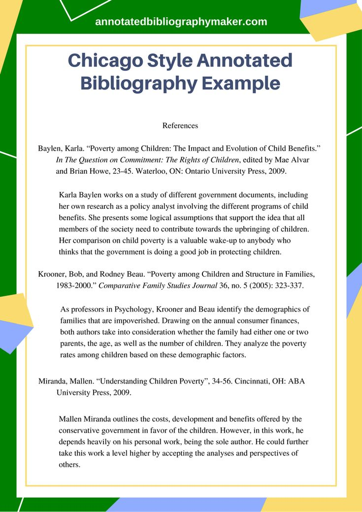 This Chicago style annotated bibliography example will provide you with all the details you need to know when writing a bibliography. For more samples like this visit this site. http://www.annotatedbibliographymaker.com/chicago-style-annotated-bibliography-example/