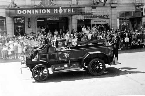 The Old Dominion Hotel with a fire truck out front.