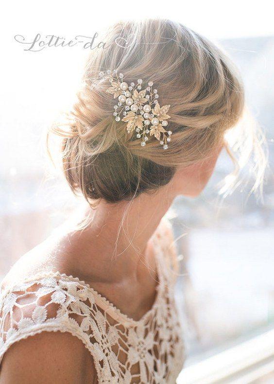 Wedding Updo Hairstyle with Laurel Leaves Bridal Large Hair Comb / http://www.deerpearlflowers.com/wedding-hairstyles-and-bridal-wedding-accessories/3/