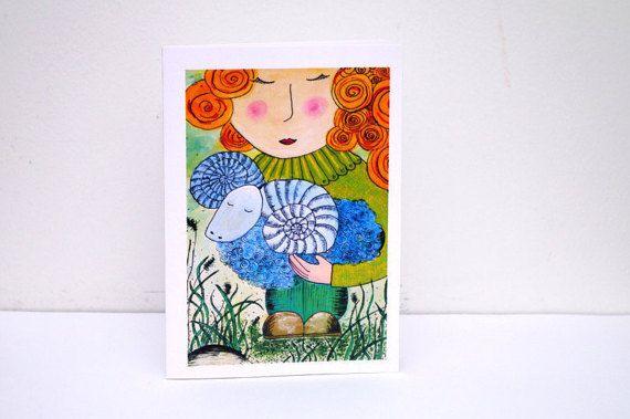 Happy birthday card for little girl - Birthday greeting card - Animal art CARD - Aries painting card - Zodiac card - Sheep card - Girl Baby Girl Card