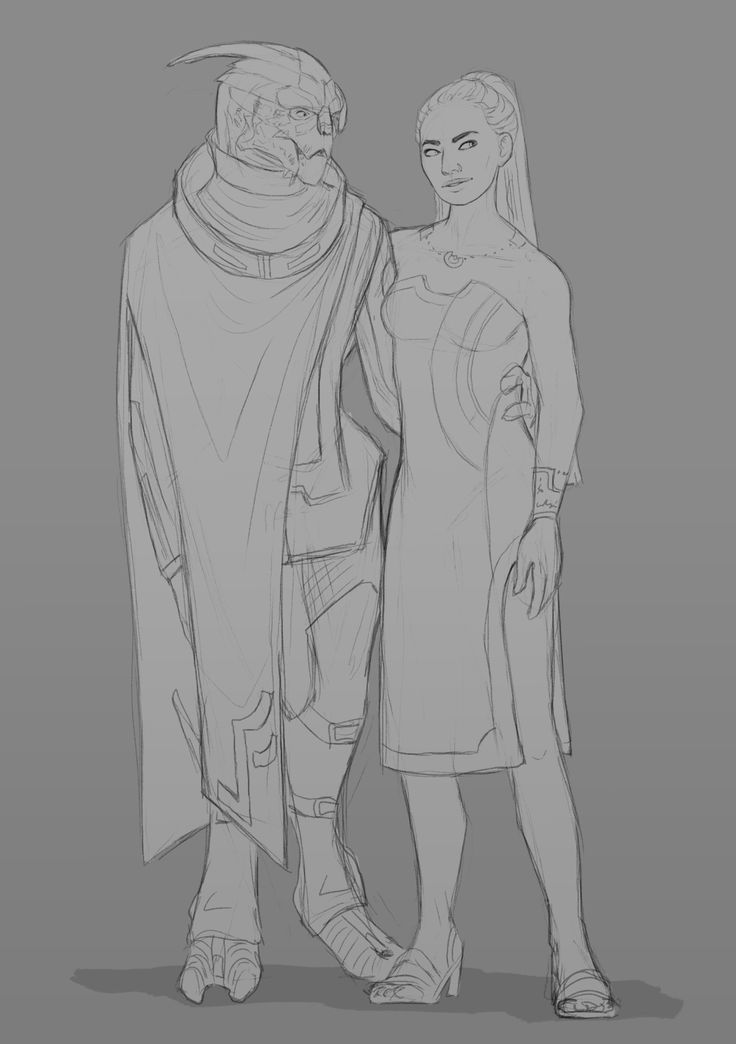 """atarial: """" drawing the space nerds reason one; nicer dress for shepard. reason two i saw a concept for turians in the art book and wanted to draw garrus in something similar :3 """""""