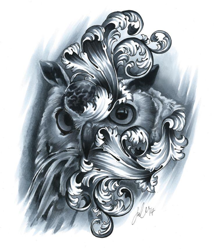 Filigree owl (Copic Markers on bristol board)