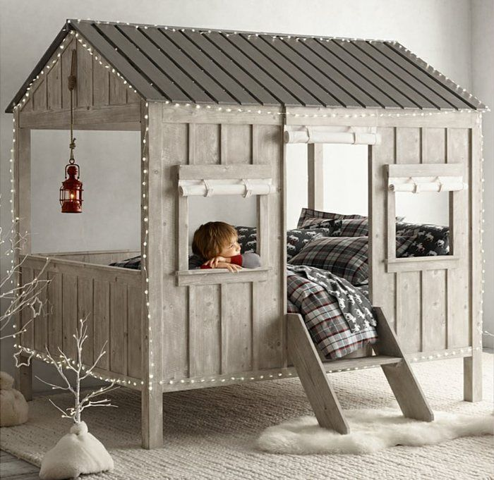 Original bed design for kids in the shape of a realistic hut