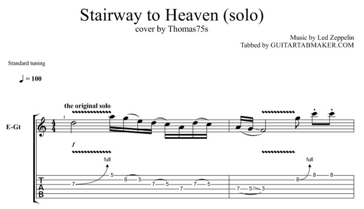 Stairway To Heaven guitar solo TAB
